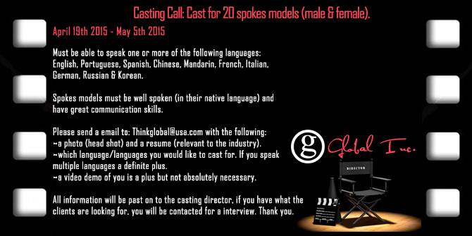 Talent Casting Call Seeking Male Female Spokes Models Actors Actresses Central South Florida